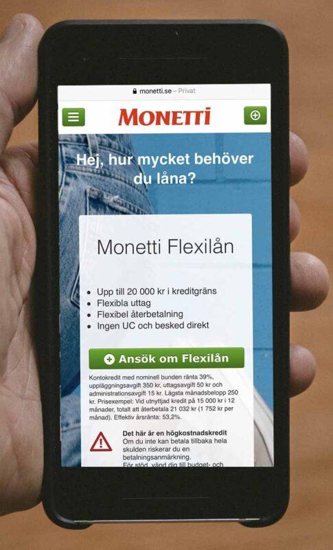 Monetti är också kredit med låg ränta och bra omdöme