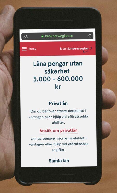 Ränta och lån utan säkerhet hos Bank Norwegian