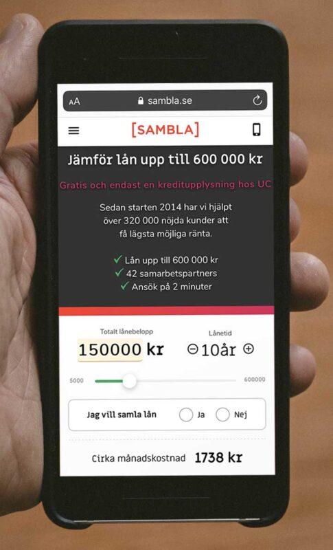 krav på ansökning hos Sambla